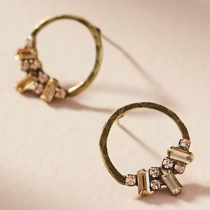 NWT Mini Etta Hammered Brass Hoops